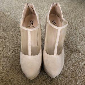 Shoes - Nude suede platform heels